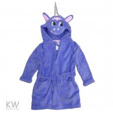 3912501K: Kids Lilac Unicorn Hooded Fleece Dressing Gown (7-12 Years)