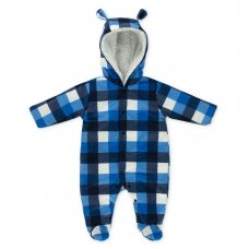 41033: Baby Boys Check Plush Snowsuit (0-9 Months)