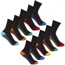 42B453: Boys 5 Pack Stripe Heel & Toe Socks