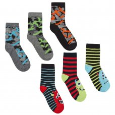 42B613: Boys 3 Pack Cotton Rich Design Ankle Socks (Assorted Sizes)