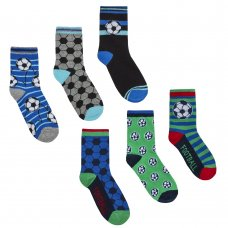 42B617: Boys 3 Pack Cotton Rich Football Design Ankle Socks (Assorted Sizes)