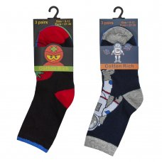 42B621: Boys 3 Pack Cotton Rich Design Ankle Socks (Assorted Sizes)