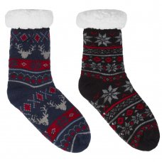 42B626: Boys Fairisle Lounge Socks With Grippers