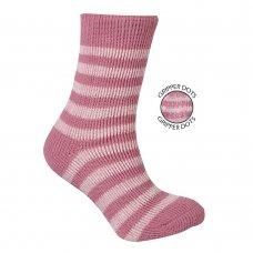 43B319: Girls 1 Pair Thermal Stripe Slipper Socks (Tog Rating 2.45)