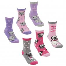 43B605: Girls 3 Pack Cotton Rich Design Ankle Socks (Shoe Size 6-8.5)