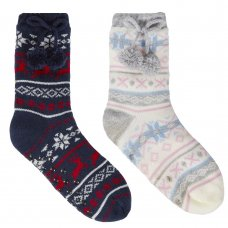 43B620: Girls Fairisle Lounge Socks With Grippers