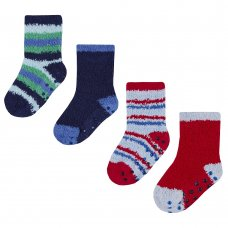 44B762: Baby Boys 2 Pack Cosy Socks With Gripper (Assorted Sizes)