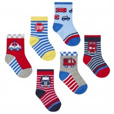 44B791: Baby Boys 3 Pack Cotton Rich Vehicles Design Ankle Socks (Shoe Size 3-5.5)