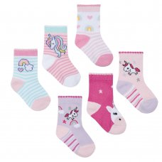 44B803: Baby Girls 3 Pack Cotton Rich Unicorn Design Ankle Socks (Shoe Size 3-5.5)