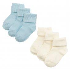 44B458: Baby Boys 3 Pack Plain Turn Over Socks