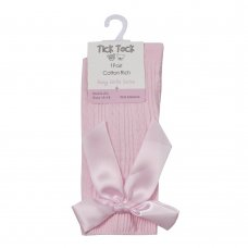 44B846: Baby Girls 1 Pair Cable Knee High Socks With Bow- Pink