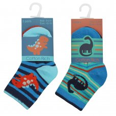 44B817: Baby Boys 3 Pack Cotton Rich Dinosaur Design Ankle Socks (Assorted Sizes)