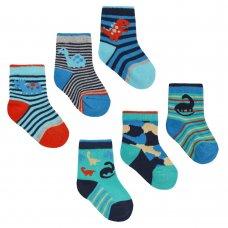 44B817: Baby Boys 3 Pack Cotton Rich Dinosaur Design Ankle Socks (Assorted Sizes)