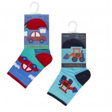 44B821: Baby Boys 3 Pack Cotton Rich Design Ankle Socks (Assorted Sizes)
