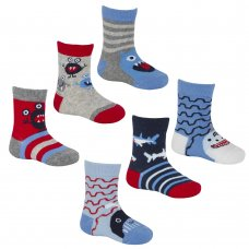 44B828: Baby Boys 3 Pack Cotton Rich Design Ankle Socks (Shoe Size 3-5.5)
