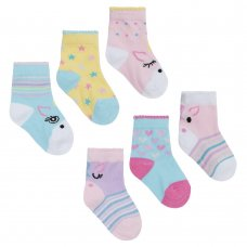44B829: Baby Girls 3 Pack Cotton Rich Unicorn Design Ankle Socks (Assorted Sizes)