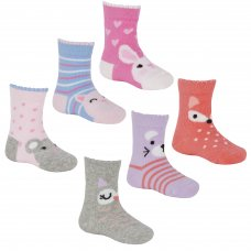 44B833: Baby Girls 3 Pack Cotton Rich Design Ankle Socks (Assorted Sizes)