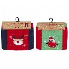 45B120: Baby Christmas Patch Panel Design Tights (0-24 Months)