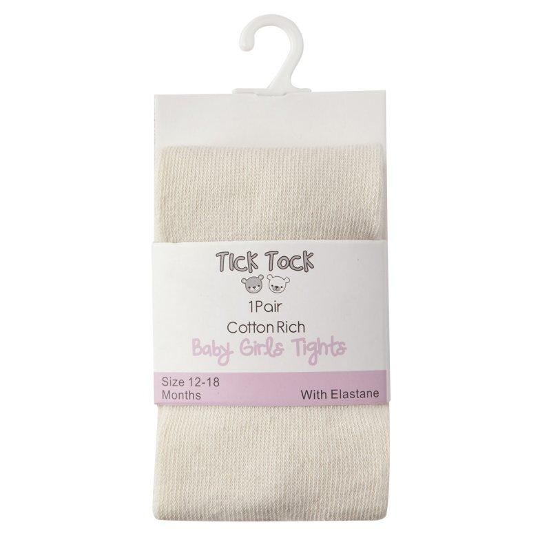 45B110: Baby Girls Cotton Rich Plain Cream Tights (0-24 Months)