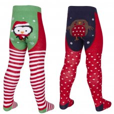 45B113: Baby Christmas Patch Panel Design Tights (0-24 Months)