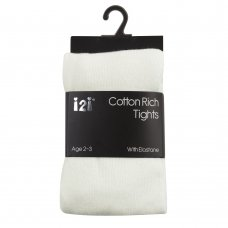 46B263: Girls Plain Cream Cotton Rich Tights (2-8 Years)