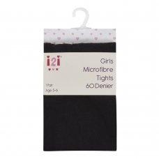 46B435: Girls 60 Denier Microfibre Tights- Black (3-12 Years)
