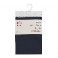 46B436: Girls 60 Denier Microfibre Tights-  Navy (3-12 Years)