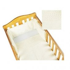 Deluxe Broderie Anglaise Cot Quilt & Bumper Set: Cream