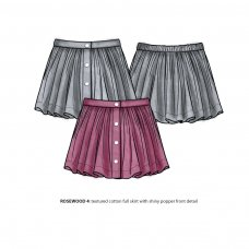 Rosewood 4P: Textured Cotton Popper Front Skirt (8-13 Years)