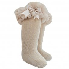 S75-BE: Beige Ribbed Knee-Length Socks w/Organza Lace & Bow (18m-6 Years)