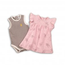 Crown 4P: All Over Print Dress With Ribbed Body Vest (12-24 Months)