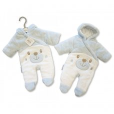 BIS-2028-2108S: Baby Padded Snowsuit - Teddy - Blue (NB-6 Months)