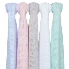 19C189B: Baby Gift Soft Handle Blue Cellular Blanket