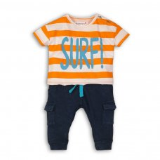 Coconut 3P: 2 Piece Striped Drop Shoulder Top & Fleece Jogger Set (12-24 Months)