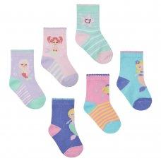 44B799: Baby Girls 3 Pack Cotton Rich Mermaid Design Ankle Socks (Shoe Size 3-5.5)
