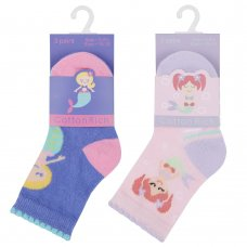 44B799: Baby Girls 3 Pack Cotton Rich Mermaid Design Ankle Socks (Shoe Size 3-5.5)