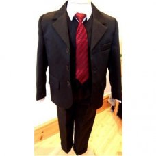 Boys Black 5 Piece Formal Suit