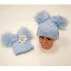 BW-0503-0332S-1: Baby Sky Double Pom-Pom Cotton Lined Hat (12-24 Months)