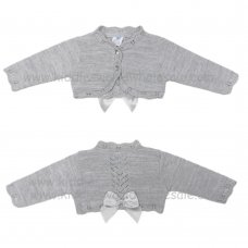 MC328BGREY: Baby Grey Bolero Cardigan With Bow (9-24 Months)