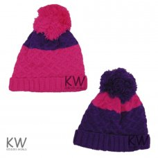 6076B: Girls Colour Block Fleece Lined Beanie (4-13 Years)