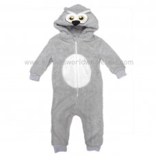 0237001K: Kids Owl Snuggle Fleece Onesie (7-12 Years)