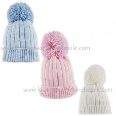 KIDS6156-2: Baby Ribbed Hat With Large Pom (6-18 Months)