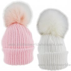 KIDS6087-2: Baby Girls Rib Knit Fur Pom Pom Hat (6-18 Months)