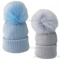KIDS6086-2: Baby Boys Rib Knit Fur Pom Pom Hat (6-18 Months)