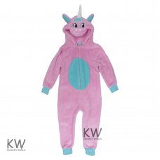 0234101K: Kids Pink Unicorn Fleece Onesie (7-12 Years)