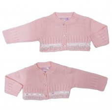 MC3021A: Baby Pink Bolero Cardigan (0-9 Months)