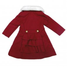Q17692: Girls Luxury Fur, Fully Lined Collar Coat (2-7 Years)