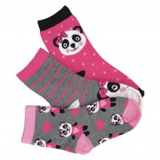 S15G04: Girls 3 Pack Panda Design Ankle Socks: Size 4-6 (34-36) (4 Packs)