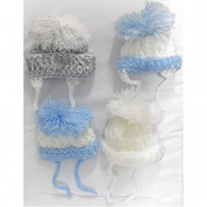 BOB03: Baby Hand Knitted Pom Pom Hats (0-3 Months)