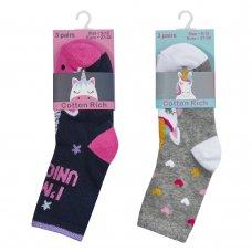 43B615: Girls 3 Pack Cotton Rich Unicorn Design Ankle Socks (Shoe Size 12-3.5)